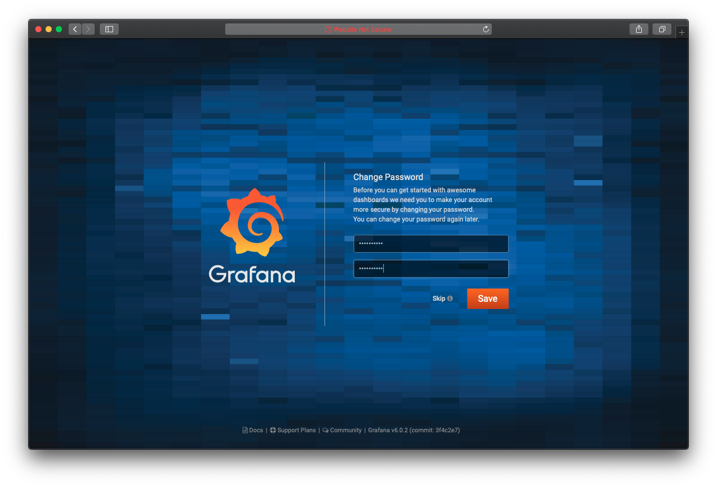 Grafana update password